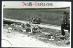 orig. WWII Photo - german motorcycle driver took a photo of dead russians soldiers
